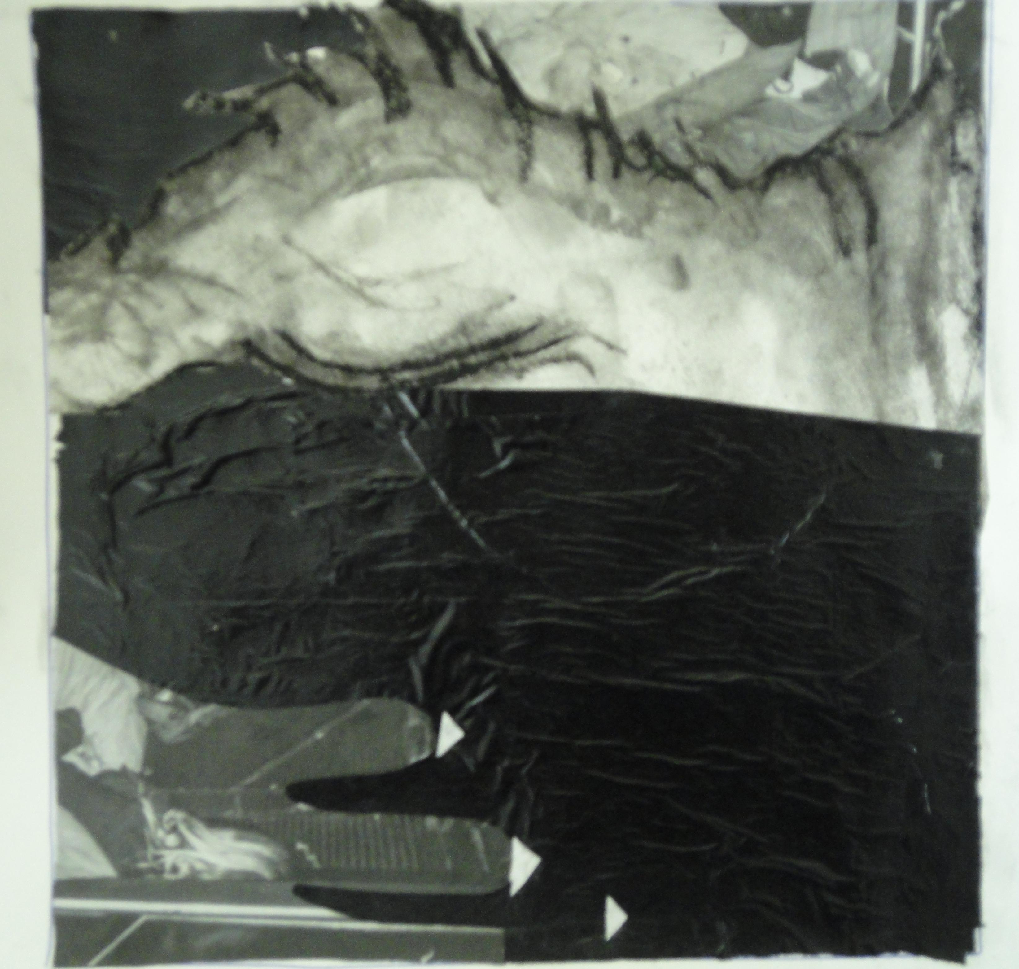 Abstract, collage, acryl en plastic op papier