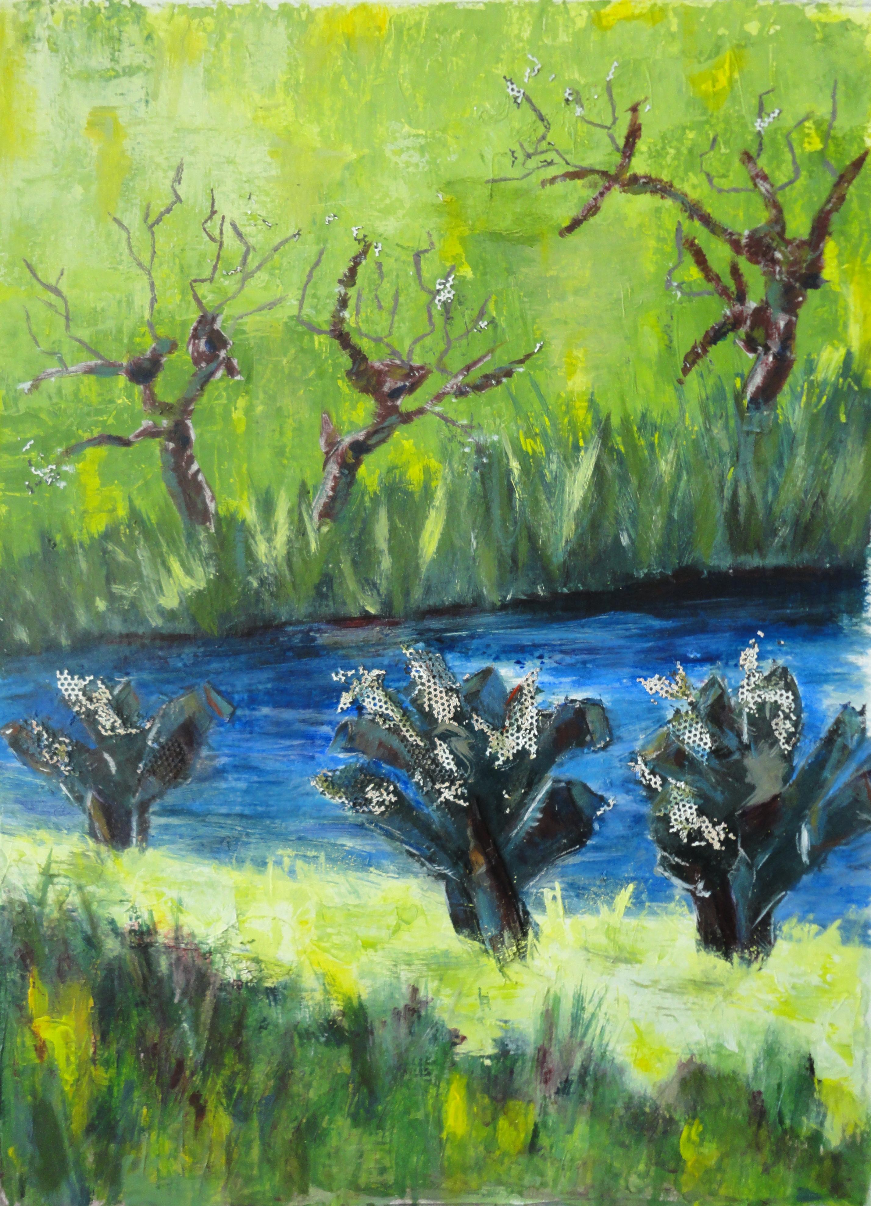 Landschap met knotwilgen, acryl
